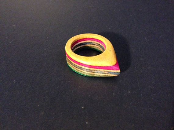 Recycled Skateboard Ring  Size 6 by R3SK8Products on Etsy, $15.00