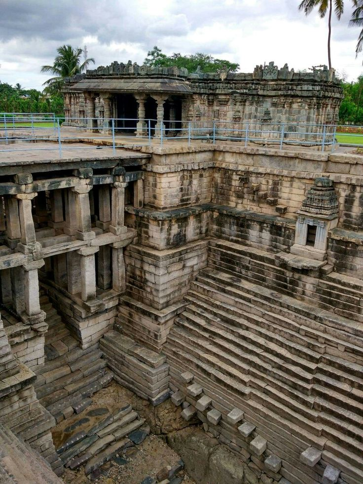 Stepped well (Muskin bhanvi) at the Manikesvara Temple in Lakkundi, Gadag District, Karnataka state