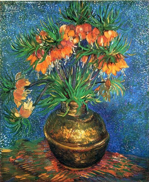 Fritillaries in a Copper Vase, 1887 by Vincent van Gogh. Post-Impressionism. flower painting. Musée d'Orsay, Paris, France