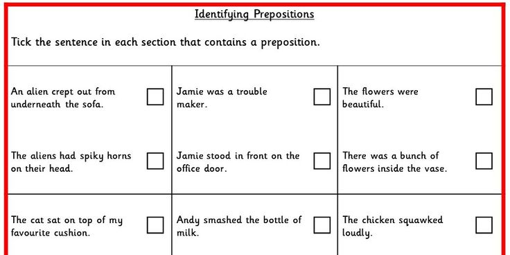 Four differentiated activities identifying prepositions. KS2 SPAG Test Practice.