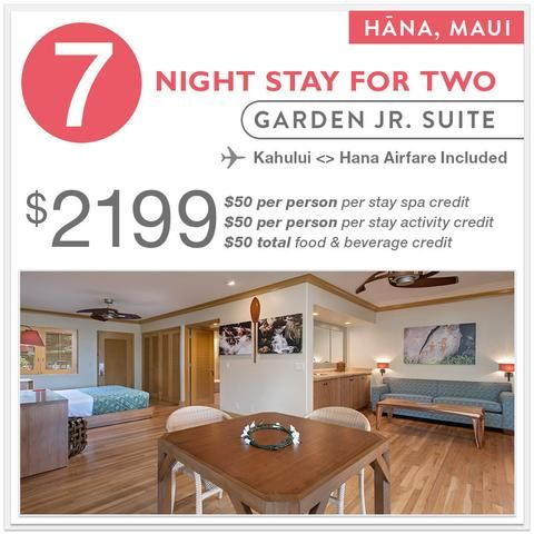7 Night Garden Jr. Suite Stay + Airfare to/from Kahului Airport