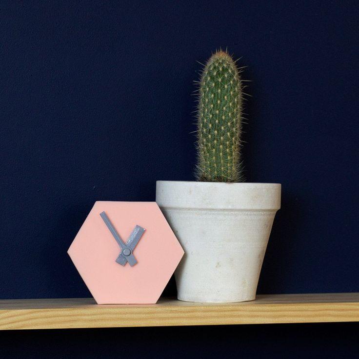 Amindy  - GEO Hexagon Desk Clock - Blush Pink - $49 - Shop online at www.amindy.com.au