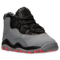 Boys' Toddler Jordan Retro 10 Basketball Shoes | FinishLine.com | Cool Grey/Infrared/Black