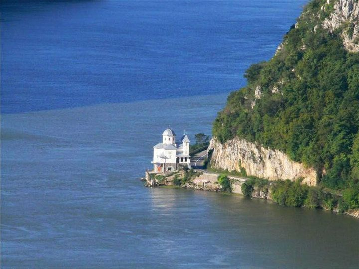 The Macronia Monastery built in Mehedinti, right on the shore of the Danube.  ROMANIA