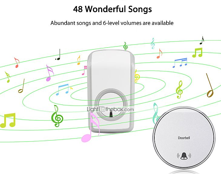 sans batterie auto-alimenté sonnette de la télécommande sans fil avec plus de 48 carillons blanc de 5355700 2016 à $18.99