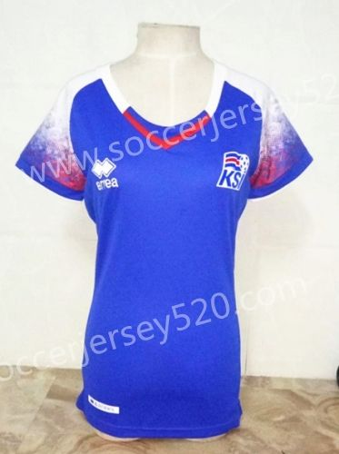 2018 World Cup Iceland Home Blue Female Thailand Soccer Jersey AAA ... 6b234732b