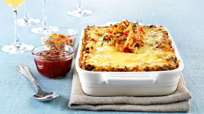 Lasagne med rein og syltede kantareller - MatPrat