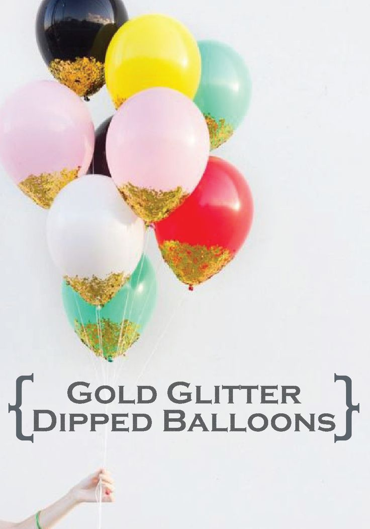 Make these pretty gold glitter dipped balloons for your summer party or wedding!