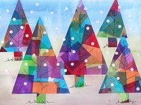 """Stained-Glass-Trees...  1) Trees. Collage large squares of art tissue paper in assorted colors onto white background paper, cutting large triangle shaped trees from the colorful paper after it dries.  using black marker to draw branches  2) Use a circle paper punch to create """"snowflakes"""" from white card stock •Art tissue paper squares in assorted colors  •School glue  •Black permanent marker  •White card stock  •Circle paper punch"""