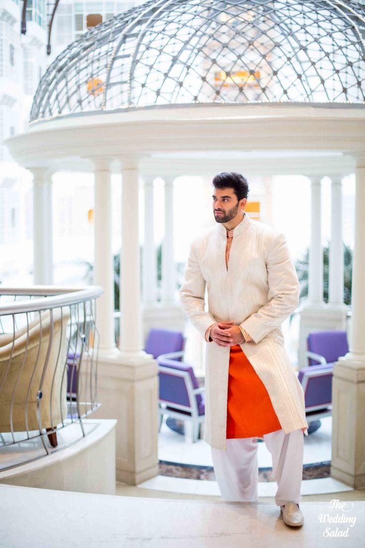 Nikitin Dheer | Indian Groom | Orange & Beige Sherwani | Photo by The Wedding Salad