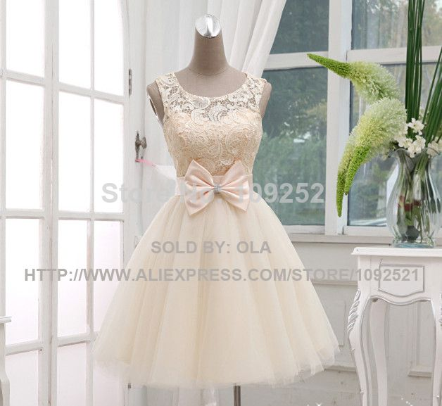 2014 Princess Style short  champagne bandage  lace on top special occasion dress for prom wedding and graduation party in stock US $53.00
