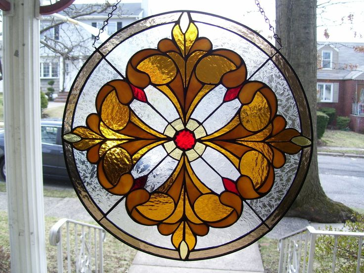 Stained Glass Franc's Round Window or Suncatcher Real Glass | eBay