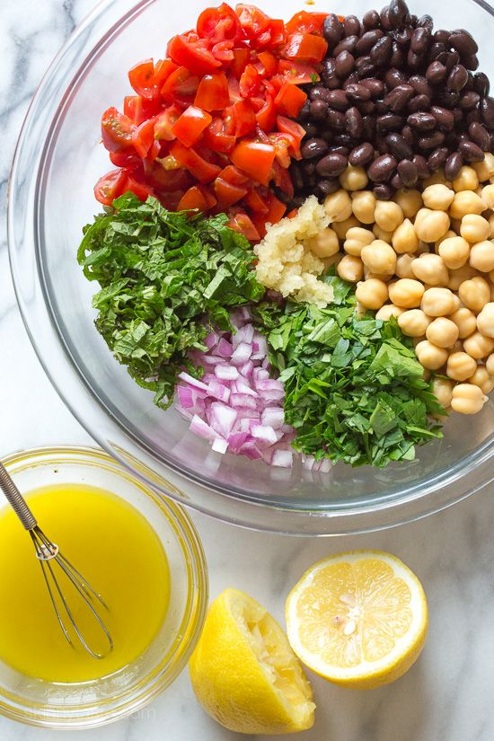 Mediterranean Bean Salad ~ cheap, easy, low-calorie, high protein & fiber ...I want to make a batch for myself & eat it throughout the week! (Over cucumber noodles, in wraps...)