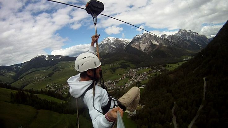 """MUST DO THIS: Zip-lining in St. Vigil, Italy. See the ground racing past 100m below your feet on Europe's longest """"flying fox"""", running for 3km through an awe-inspiring pine forest in the Dolomites. Bucket listed!"""