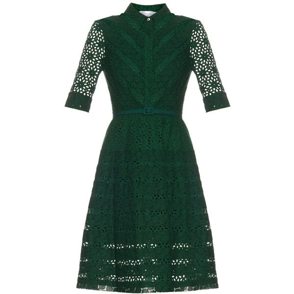 Oscar De La Renta Broderie-anglaise A-line shirtdress ($1,595) ❤ liked on Polyvore featuring dresses, oscar de la renta, emerald, green shirt dress, a line silhouette dress, a line dress, green a line dress and shirt dress