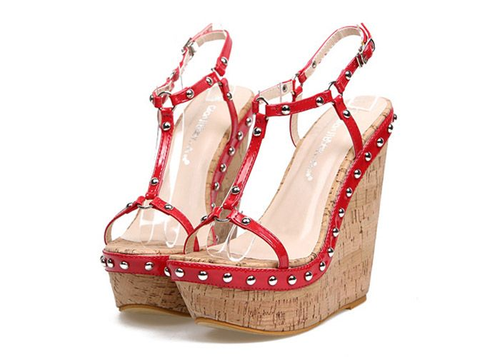 Wholesale Party Women's Wedge Heel Sandals With Rivets and T-Strap Design (RED,39), Sandals - Rosewholesale.com