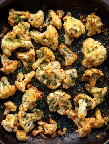 Madhur Jaffrey's roasted cauliflower with Punjabi seasonings from Curry Easy Vegetarian is a delicious, healthy snack or side dish. All you have to do is marinate florets of cauliflower with all the seasonings and roast in a hot oven. Try with the korma blend for seasoning. Www.spicepots.com
