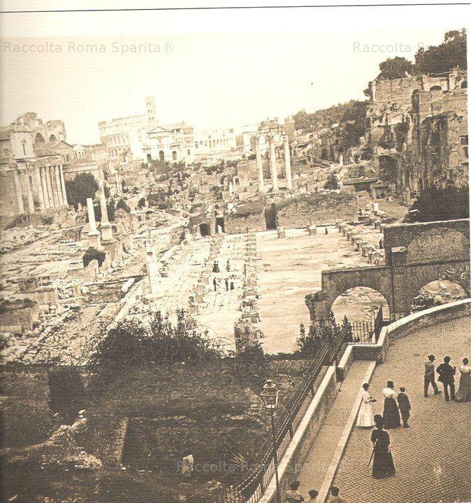 Foto storiche di Roma - Foro Romano visto dal Campidoglio 16 Agosto 1908