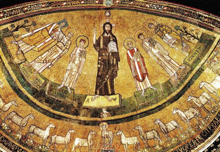 Cristo con S. Marco papa, Ss. Agapito e Agnese, Felicissimo, Marco Evangelista e Gregorio IV, 827 - 844, S. Marco, Roma.