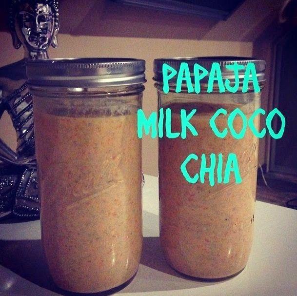 Zielone koktajle: papaja + mleko kokosowe + chia