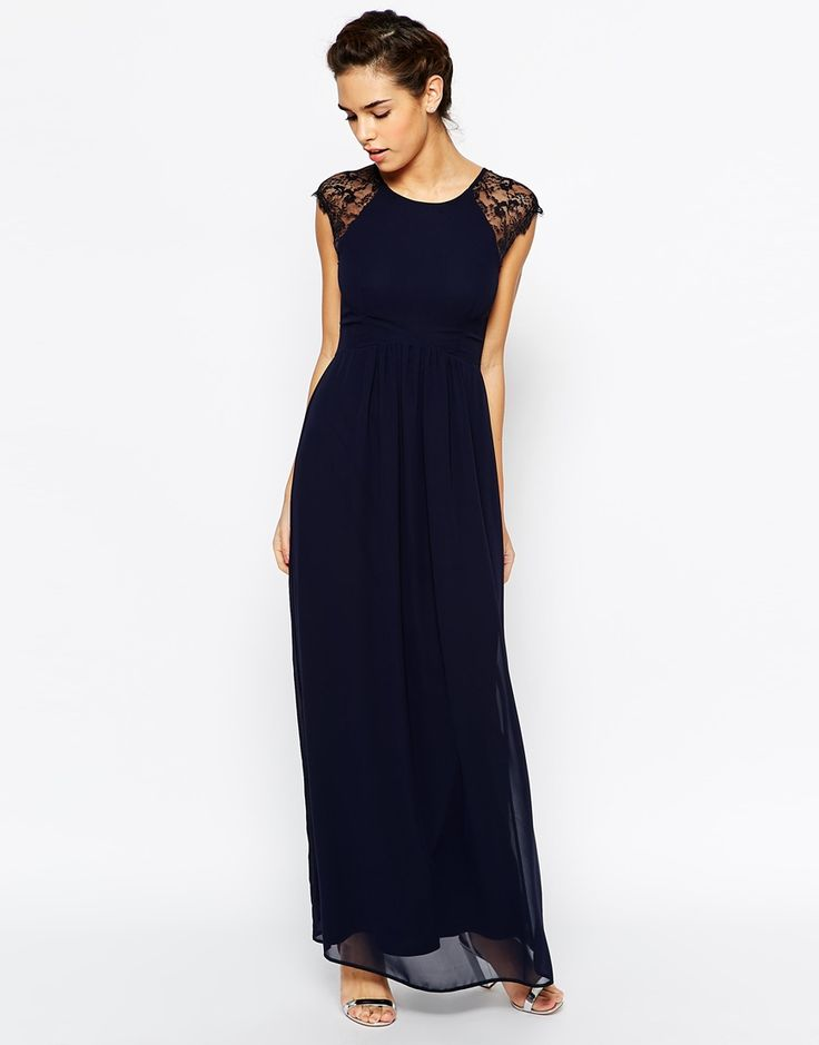 Elise Ryan Pleated Maxi Dress With Lace Sleeve