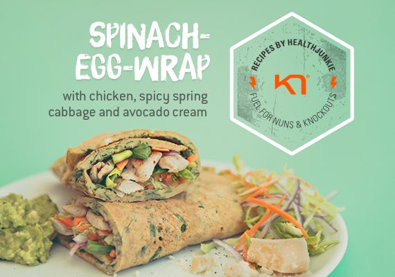Perfect as a healthy satiating dinner. The wrap looks so pretty with the spinach blending in. It is a healthy alternative to normal wraps, it contains a lot of proteins in combination with vitamins and mineral.