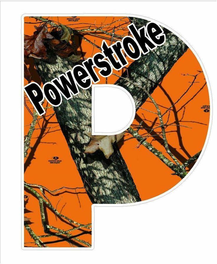 Large 1025 X 13 Power Stroke Orange Camo Sticker Decal Ford Diesel