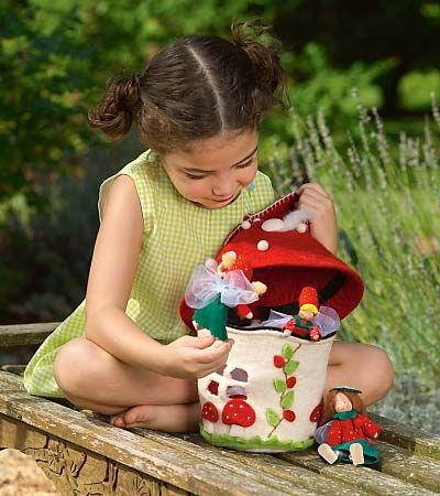 Felt Mushroom Tote: Gnomes, fairies and other small dolls will feel right at home in this cozy mushroom that fosters all sorts of make-believe adventures. Handmade in Nepal from soft wool felt, it zips open at the top for easy access.