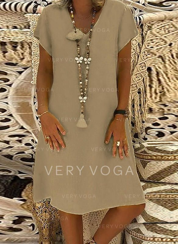 VERYVOGA Solid Short Sleeves Shift Knee Length Casual/Vacation Dresses