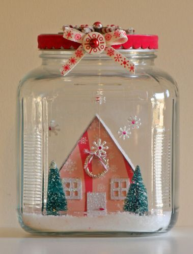 snow jar: Christmas Crafts, Snow Globes, Minis Houses, Christmas Scene, Holidays Ideas, Glasses Jars, Christmas Decor, Paper Houses, Putz Houses