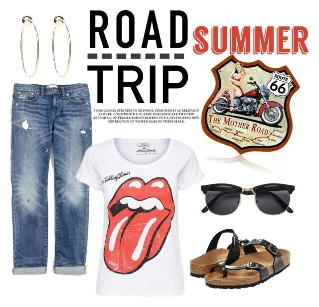 """""""Untitled #599"""" by pinkpeony21 ❤ liked on Polyvore featuring Madewell, Birkenstock, Bebe and roadtrip"""