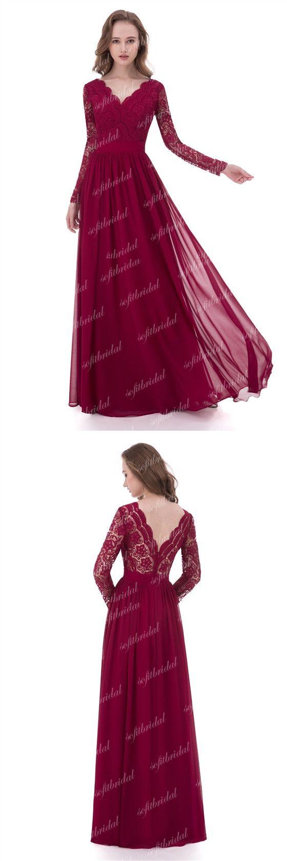 V-neck Long Sleeve Lace Chiffon Long A-line Bridesmaid Dresses, Wedding Guest Dresses, PD0334 #sofitbridal #bridesmaiddresses #weddings
