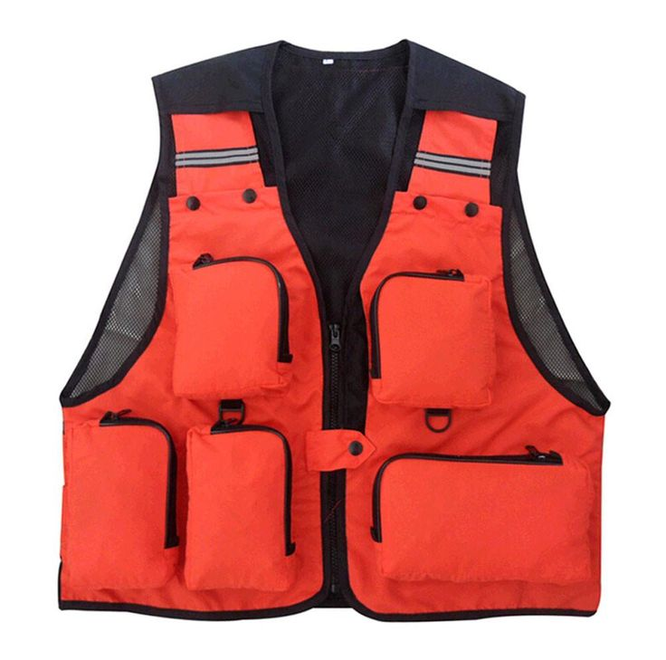Multifunctional Outdoor Fishing Vest Waistcoat Photographer Vest ORANGE, XXL