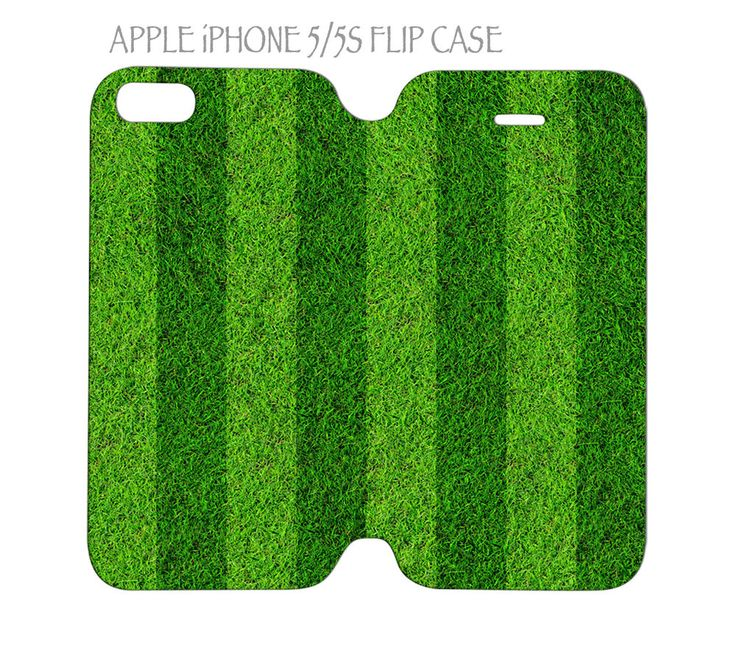iPhone 5 / 5s Flip Case Folio Cover Green Grass Football Soccer Field #QuinnCafe