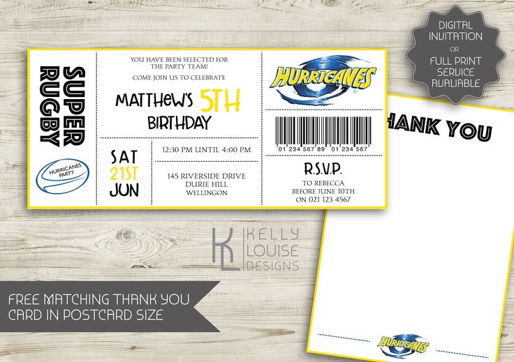 Hurricanes Birthday Invitation | Rugby Birthday Party | New Zealand Rugby | Super Rugby Party | Rugby Ticket Invitation | NZ Rugby (164) by kellylouisedesigns on Etsy