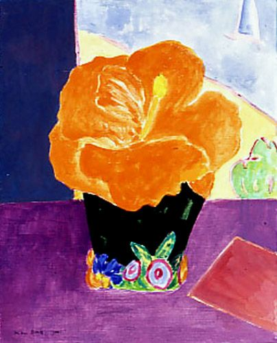 Australian artist Ken Done  Hibiscus in a painted Vase V, 2002