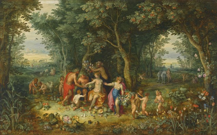 Jan Brueghel the Younger Hendrick van Balen Antwerp 1601 - 1678 Antwerp 1575 - 1632 VENUS, CERES AND BACCHUS brushed on the reverse: no 1067 and charged on the reverse with the arms of the Violieren Chamber of Rhetoricans in Antwerp oil on oak panel 52.5 by 86.4 cm.; 20 5/8  by 34 in.