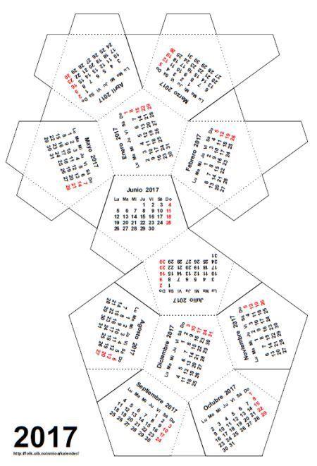 Resultado de imagem para calendario de dodecaedro para montar 2017