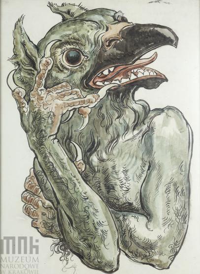 Karton do polichromii Kościoła Mariackiego - Diabeł z głową ptaka