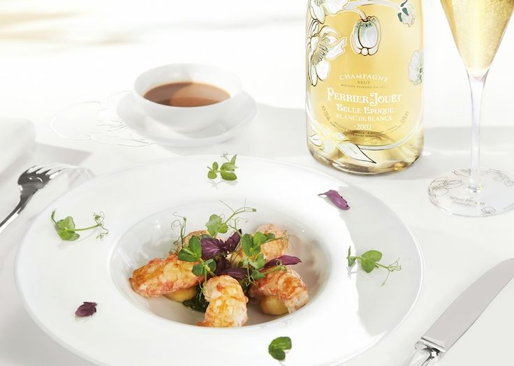 Infuse romance into an anniversary dinner with  crisp langoustine in basil sauce with fondant gnocchi and a perfectly chilled bottle of Perrier-Jouët Blanc de Blancs 2002. #perrierjouet Please Drink Responsibly