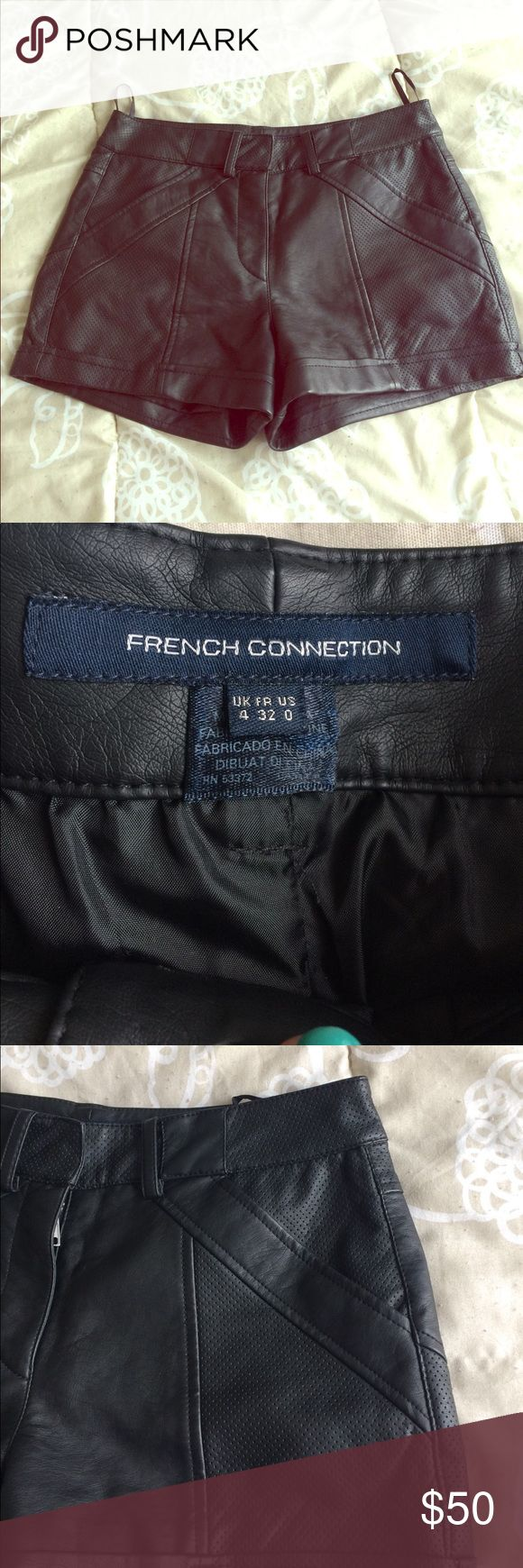 Never worn French Connection leather shorts! Repost, received NWOT, unfortunately a bit too big. Size 0. French Connection Shorts