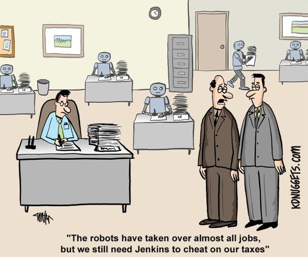 Cartoon Taxes Artificial Intelligence And Humans