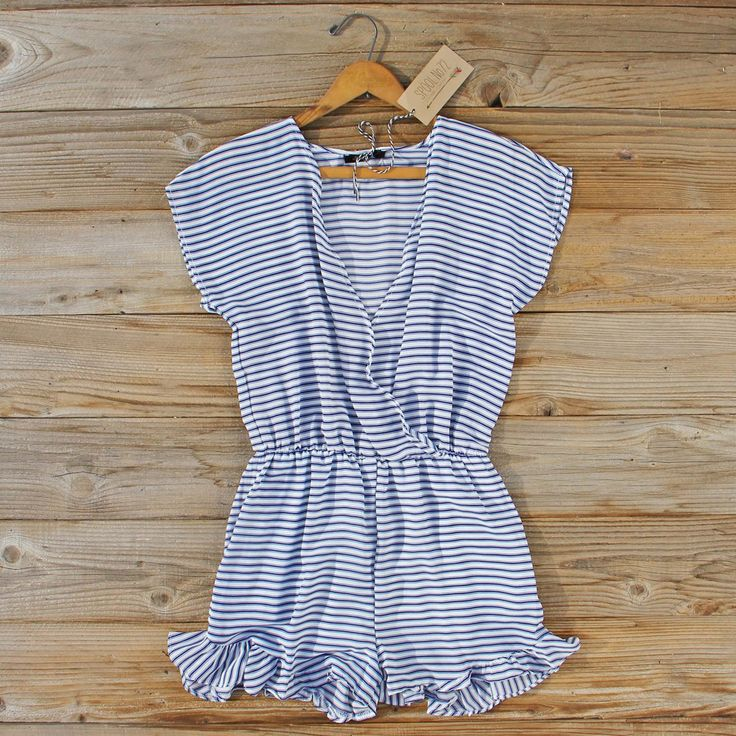 Lonely Fox Romper... sweet stripes pair with a ruffle hem for the perfect spring & summer romper!  Shop our collection of affordable dresses and rompers: www.spool72.com