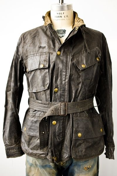 Belstaff distressed leather and brass buttons.