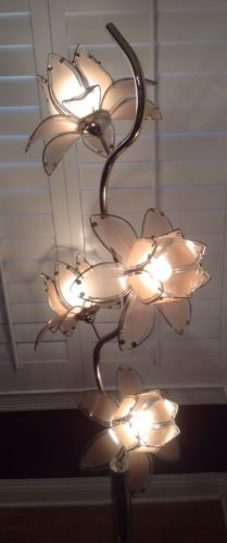 Vintage Brass Floor Lamps Glass Flowers Lamp Retro Marked