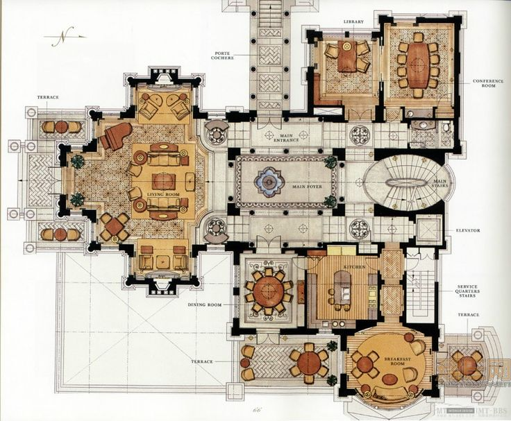 2820 best blueprints images on pinterest architecture for Villa interior design floor plan