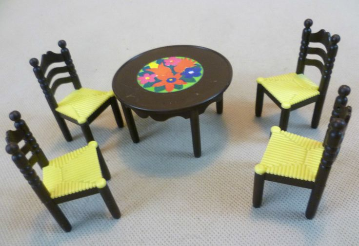 Vintage Dolls House -Toy Works/Modella My First Home Table & Chairs West Germany | eBay