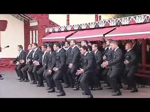 NZ All Blacks greet Maori King with massive Haka.