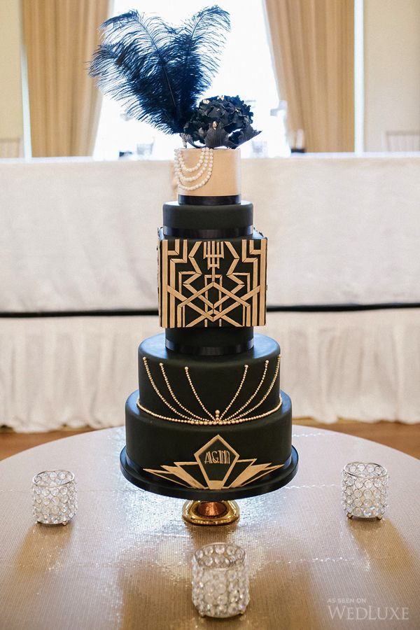 Gorgeous cake from a Gatsby 20's themed wedding! Need more great ideas to plan your wedding? www.destinationweddingcollective.com | Photography By: Life Studios Inc. | Wedluxe Magazine