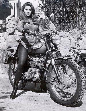 Inspiration for dark comedy, Lone Stars. 1965 Triumph Bonneville & Ann Margret